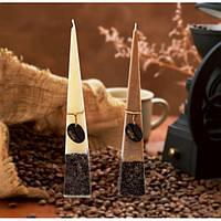 """Свічка декоративна для дому """"Кава"""" SW614, піраміда, розмір 80х500 мм, 2 види, ароматизована, ароматична свічка"""
