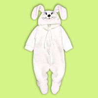 Детский комбинезон для малышей Зайка белый (махра). Человечек с капюшоном