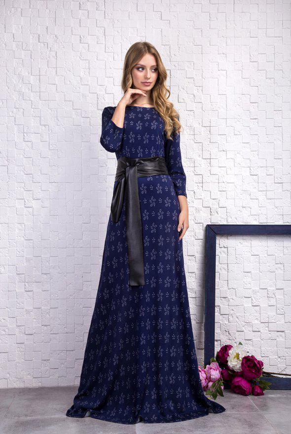 48d32e5bdfd Красивое синее длинное платье с поясом → купить по низкой цене в ...