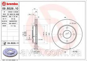 Диск передній гальмівний Nissan Tiida BS8959 діаметр диска 260мм BREMBO 09.B526.10