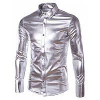Slim Fit глянцевое покрытие однобортный Turn Down Воротник рубашки для мужчин XL