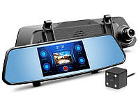 "Видеорегистратор зеркало 5"" Сенсорное DVR  X10 Full HD 1080P на 2 камеры!, фото 1"