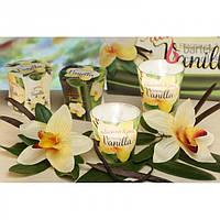 """Свеча декоративная для дома """"VANILLA"""" S763, в стакане, ароматизированная, в коробке, ароматическая свеча, свеча в стакане"""