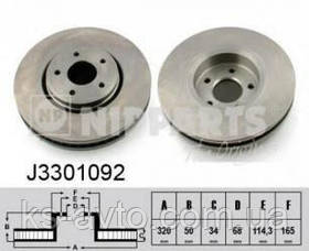 Диск передний тормозной Infiniti FX35 NIPPARTS J3301092