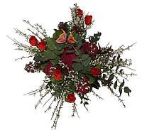 Букет из живых цветов с набором махровых полотенец