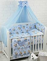 """Постельное бельё для детей ТМ «ASIK» ( 8 ед.) """"Мишка с мёдом"""" голубого цвета"""" №86"""