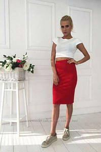 Трикотажная юбка футляр на резинке базовая Миди Трикотаж Цвета Батал 48 50 52