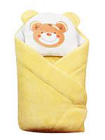 """Конверт - одеяло для новорожденного с подушкой  coral fleece (желтый ) """"Duetbaby"""""""