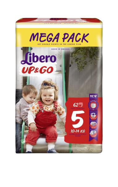 Подгузники-трусики Libero Up&Go , размер 5 (10-14 кг), 62 шт.