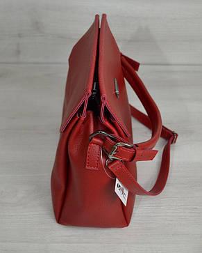 Сумка на три отделения красного цвета (никель) 54022, фото 2