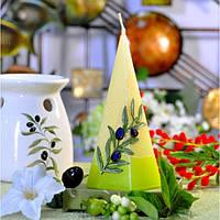 """Свеча свадебная для праздника """"Olive"""" S208, в форме пирамиды, размер 50х150 мм, свадебные аксессуары, декор для свадьбы, аксессуары для свадьбы"""