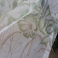 Тюль шифон зелёный Лотос