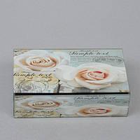 """Шкатулка стеклянная для украшений """"Роза"""" CT045, размер 5х16х9 см, в подарочной упаковке, шкатулка под бижутерию, шкатулка из стекла"""