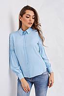 Женская блуза c объемными рукавами, голубого цвета