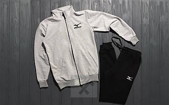 Спортивный костюм mizuno серого и черного цвета