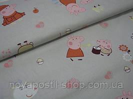 Свинка Пеппа на сером, детское постельное белье из сатина