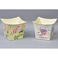 """Комплект вазонов для цветов """"Прованс"""" F5010, в наборе 3 шт, 3 вида, металл, вазон для комнатных растений, горшок для растений"""