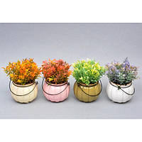 """Композиция цветочная для декора """"Mind"""" SU228, в вазоне, 4 вида, декоративный цветок, искусственное растение, букет искусственных цветов"""