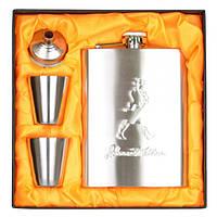 """Набір подарунковий для чоловіка """"Silver"""" GH083, в комплекті 4 предмета, метал, в коробці, фляга-подарунок, фляга металева"""