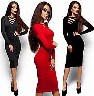 Красивое платье-футляр Шардоне (42-48 в расцветках)