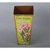 "Вазон - кашпо для цветов ""Grow Dreams"" YW652, металл, размер 22х12х2 см, вазон для комнатных растений, горшок для растений"