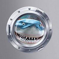 Съемная Настенная 3Д Картинка Для Холодильника С Симпатичной Акулой В Подводной Лодке Для Декорирования Дома Цветной