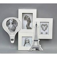 "Фоторамка настенная для фото ""Париж"" PR201-1, размер 36х43 см, на 4 фото, дерево, рамка для фото, фото-рамка, рамка для фотографии"