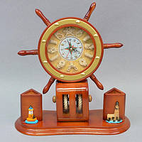 """Офисный аксессуар - часы """"Штурвал"""" KK012, 32*28* 12 см, дерево, Часы - Штурвал, Деревянные часы, Часы для офиса, Настольные часы, Оригинальные часы"""