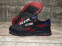 Мужские кожаные кроссовки Reebok код 311 синий с красным
