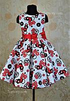 Платье нарядное для девочки 7-9 лет белое с красным Dina1802-6/045