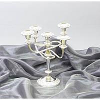 Подсвечник канделябр M7605, на 5 свечей, материал - мельхиор, размеры -27*26 см, свадебные аксессуары, декор для свадьбы, аксессуары для свадьбы