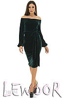 Платье миди с декольте из велюра