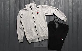 Спортивный костюм Fila серого и черного цвета (люкс копия)