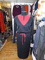 Платье женское под пояс комбинированное