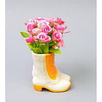 """Композиция цветочная для декора """"Розочки"""" SU205, размер 16х10х10 см, в подставке, декоративный цветок, искусственное растение"""