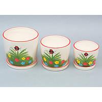 """Комплект вазонов для цветов """"Summer"""" 9A54, в наборе 3 шт, 2 вида, керамика, вазон для комнатных растений, горшок для растений"""