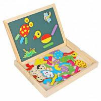 WDB-01 Деревянный двусторонний мольберт с магнитными фигурками 70шт детская игрушка подарок Как на изображении