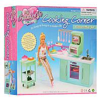 Мебель для куклы Кухня, мойка, плита, этажерка, стул, посуда, 2816