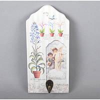 """Вешалка декоративная для аксессуаров """"Прованс"""" XT035, дерево, 22х10 см, на 1 крючок, 3 вида, вешалка для декора, вешалка для ключей"""