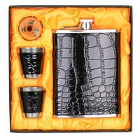 """Набір подарунковий для чоловіка """"Leather"""" GH812, в комплекті 4 предмета, розмір 17х17 см, подарунок на свято, набір подарунків"""
