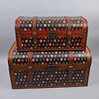 """Сундук деревянный для хранения вещей """"Retro"""" DS184, в наборе 2 штуки, сундук для декора, сундук для предметов"""