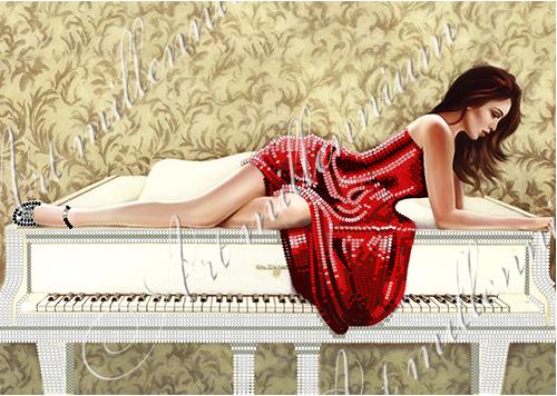 """Схема для вышивки бисером W-432 """"Девушка в красном"""""""
