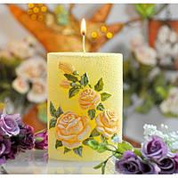 """Свічка декоративна для дому """"Садова троянда"""" SW334, розмір 140 мм, у формі овалу, свічка для інтер'єру, свічка для декору, подарункова свічка"""