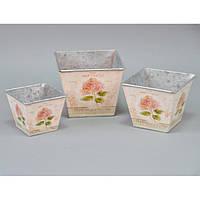 """Комплект вазонов для цветов """"Прованс"""" F5213, в наборе 3 шт, 3 вида, металл, вазон для комнатных растений, горшок для растений"""