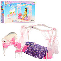 Мебель для куклы Спальня кровать с балдахином, столик - трюмо, стул, аксессуары, 2624