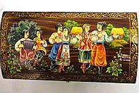 Шкатулка деревянная с сюжетной росписью Казаки