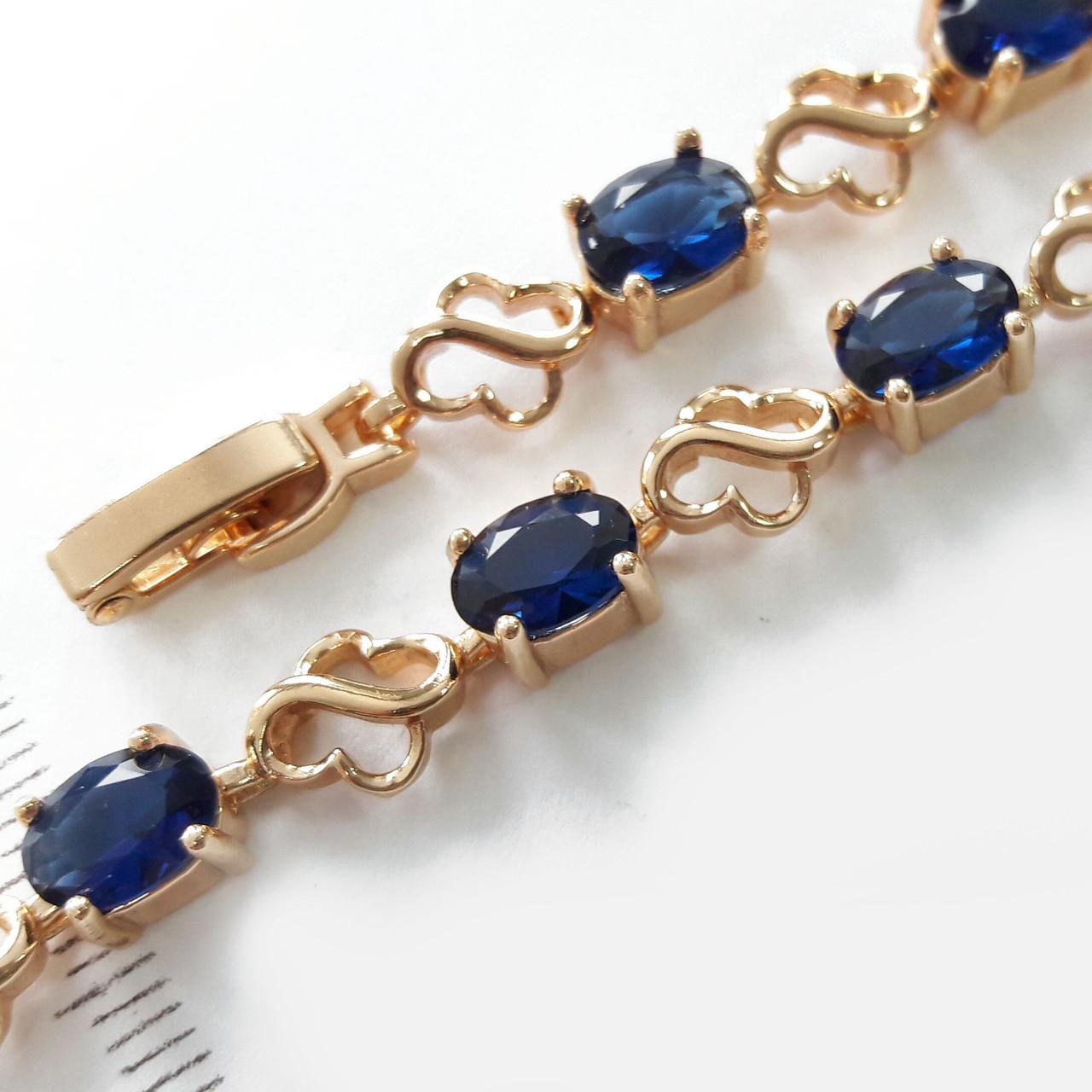 Браслет 7мм 17.5-19 см золото 18к xuping синий цирконий 2242