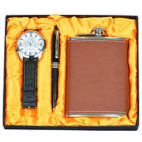 """Набір подарунковий для чоловіка """"Wood"""" GH91, в комплекті 3 предмета, розмір 17х20 см, подарунок на свято, набір подарунків"""