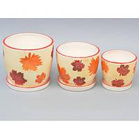 """Комплект вазонов для цветов """"Seasons"""" 9A52, в наборе 3 шт, 3 вида, керамика, вазон для комнатных растений, горшок для растений"""