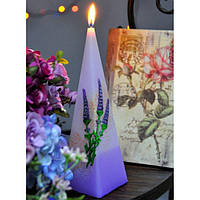 """Свеча свадебная для праздника """"Лаванда"""" SW5154, в форме пирамиды, размер 80х330 мм, свадебные аксессуары, декор для свадьбы, аксессуары для свадьбы"""